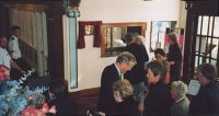 Picture of a reception in the Wardroom after the presentations